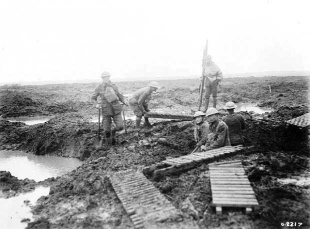 Canadian Pioneers Lay Trench Mats at Passchendaele