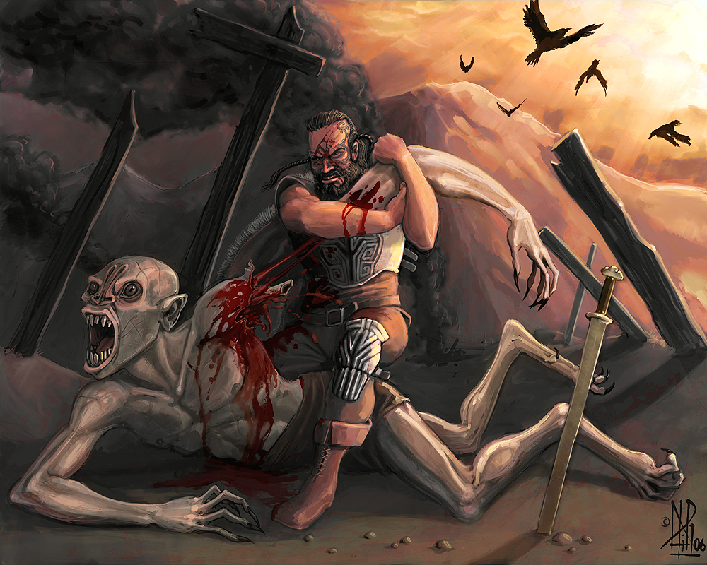 beowulf battles Beowulf wants to battle grendel alone (more or less) he asks the king to allow with the help of his men only beowulf says he will fight with no weapons to match grendel who is weaponless he stays awake all night listening and watching for the monster.