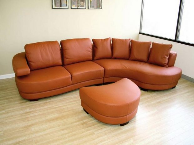 Living-Room-Sets-Leather-Orange-Sofa-Design